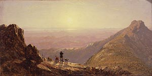 A Pastel-colored Gifford Oil Painting Of Two Large Mountain Peaks On Either Side Of The Canvas And A Hunter And His Dogs Between The Peaks Looking Out Over Distant Peaks As The Sun Is Setting.