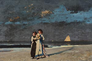 Winslow Homer Oil Painting Of Two Women In Long Victorian Dresses Walking Side By Side On A Darkening Beach With A Sailboat On The Horizon
