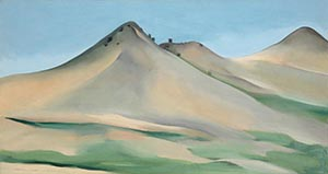 Georgia O'Keeffe Oil Painting Of Three Mountain Peaks In Broad Colors Of Blue, Tan, And Green