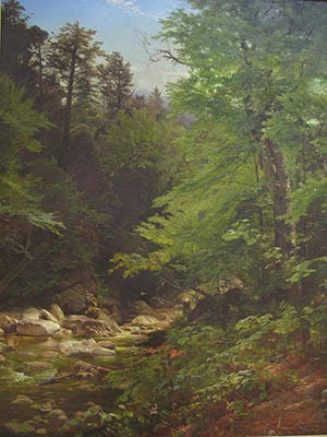 Oil Painting Of A Rocky Stream Surrounded Left And Right With Evergreen Trees In Various Shades Of Green Highlighted By A Blue Sky