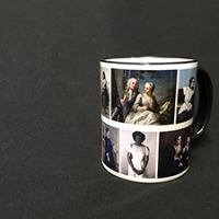 White Ceramic Mug With Multiple Fine Art Portraits In Full Color