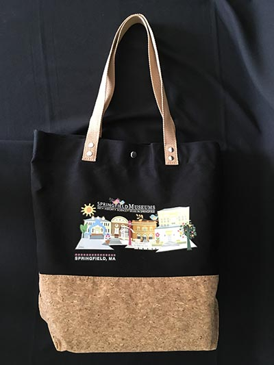 Black And Brown Canvas Tote Bag With Colorful Artistic Rendering Of The Five Museums Of The Quadrangle