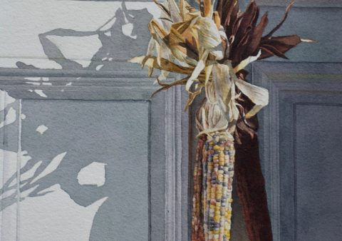 Watercolor of dried corn