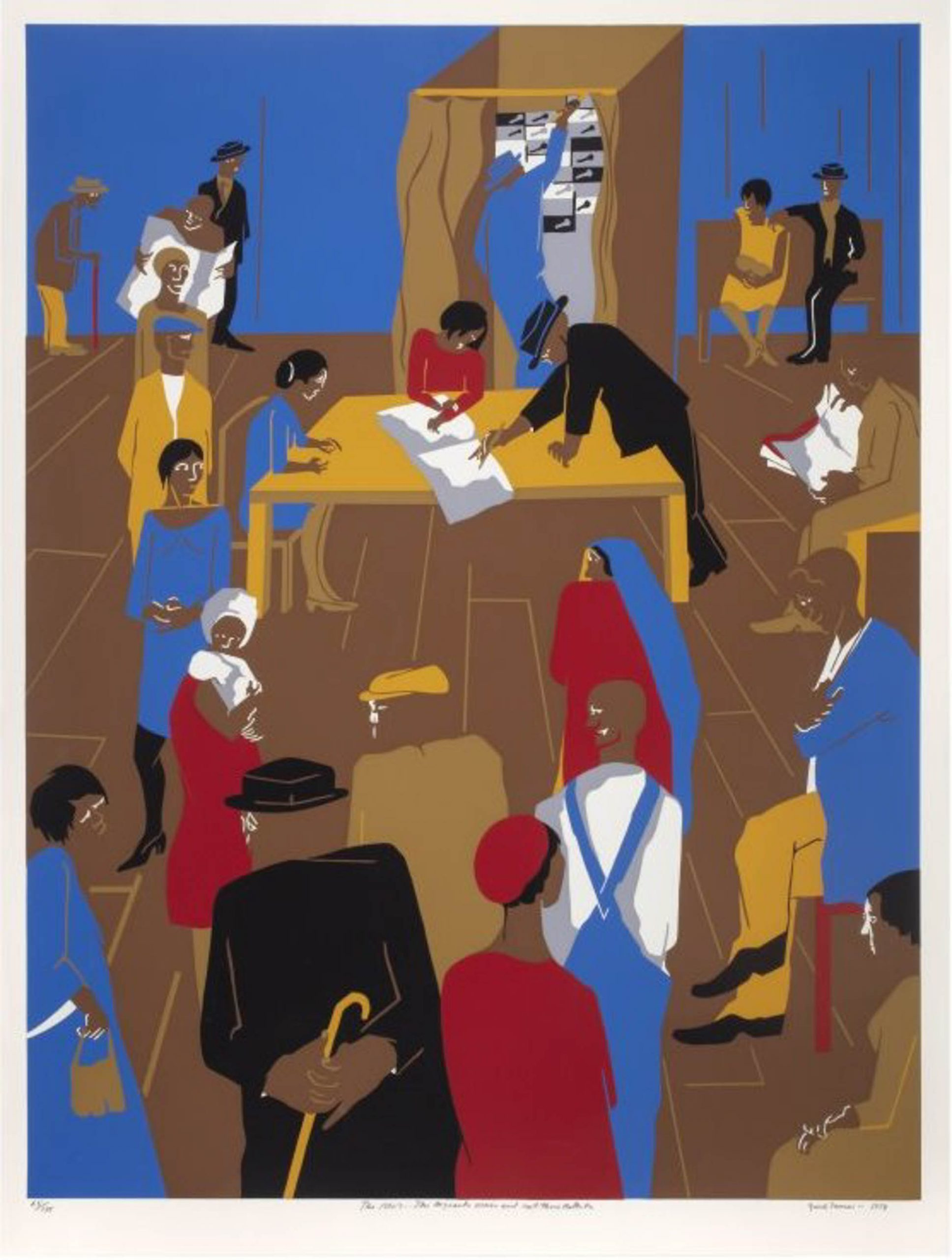 A serigraph print showing African Americans voting.