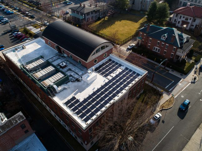 Solar panels on the Wood Museum of Springfield History