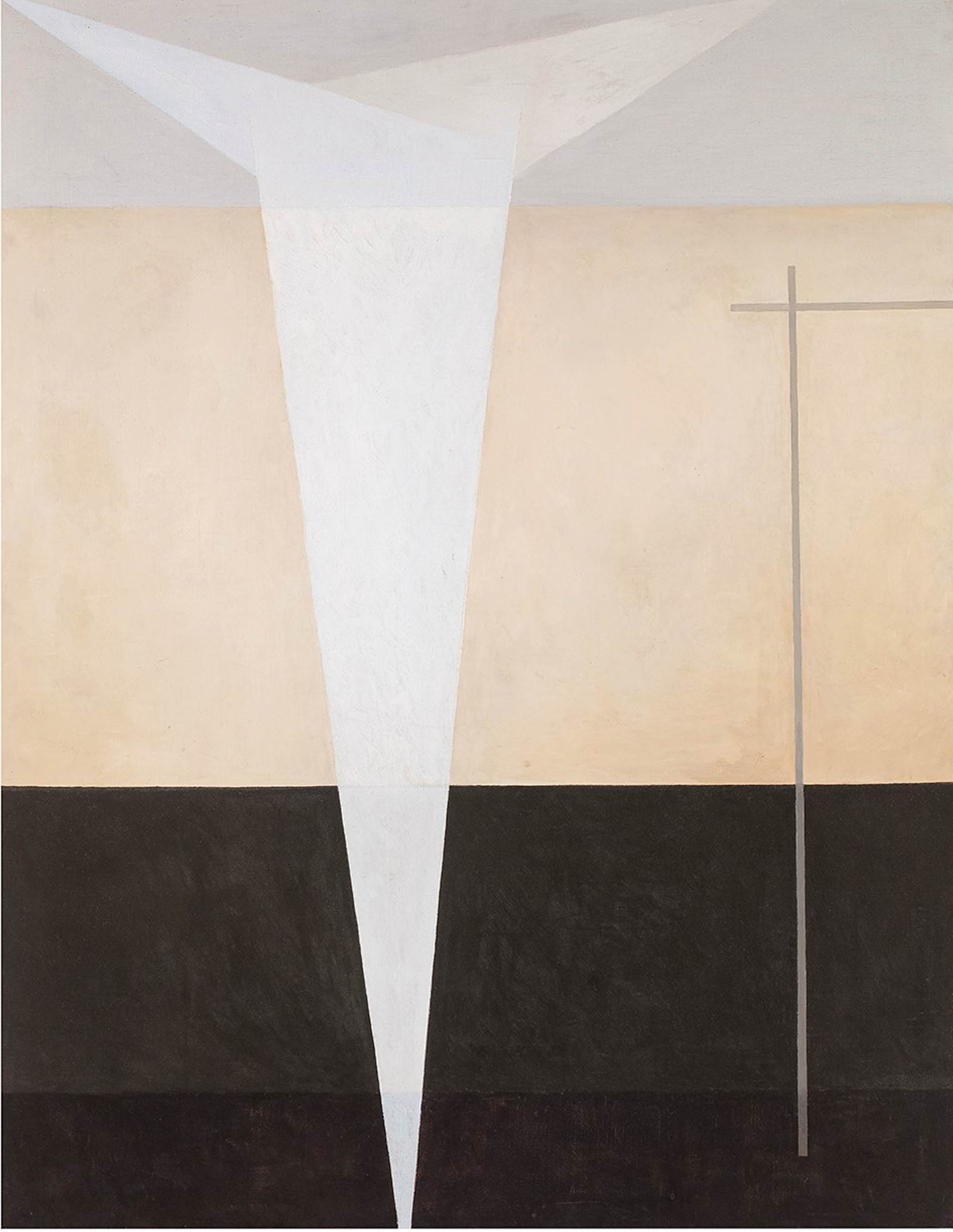 An abstract painting split into three sections. There is a white movement that comes down, slightly off centered. On the right two lines intersect to create a right angle.