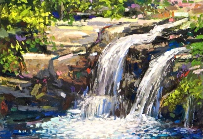 Pastel landscape drawing with waterfall