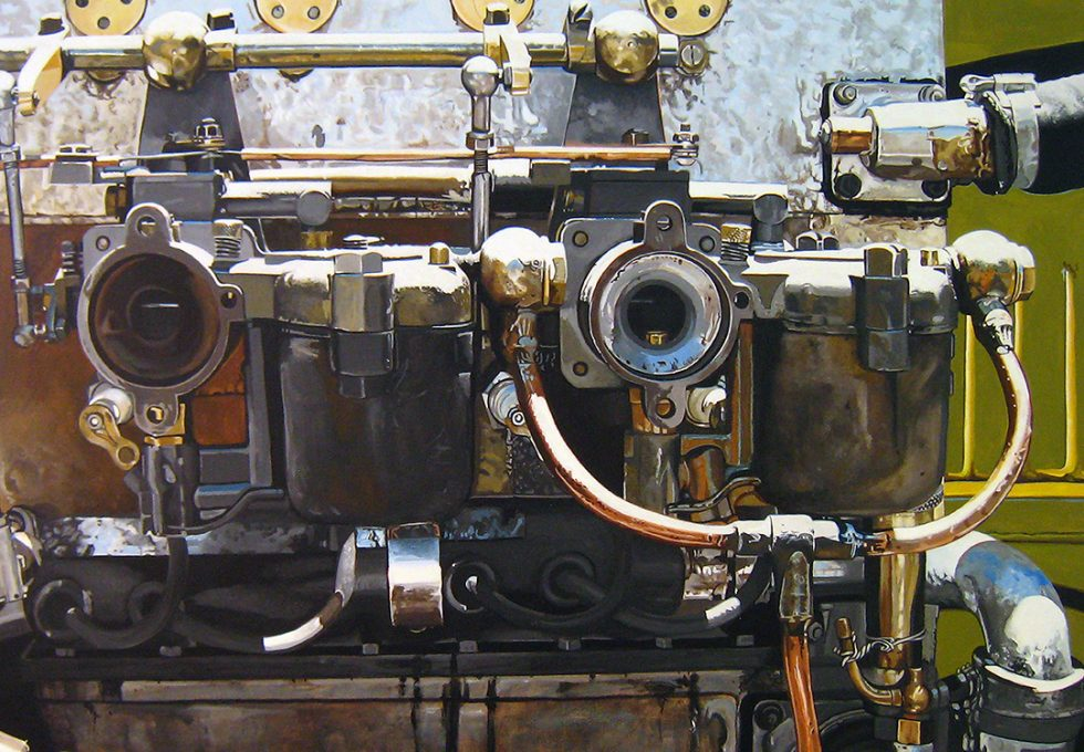 Photorealistic painting of a 1935 Buggati Engine