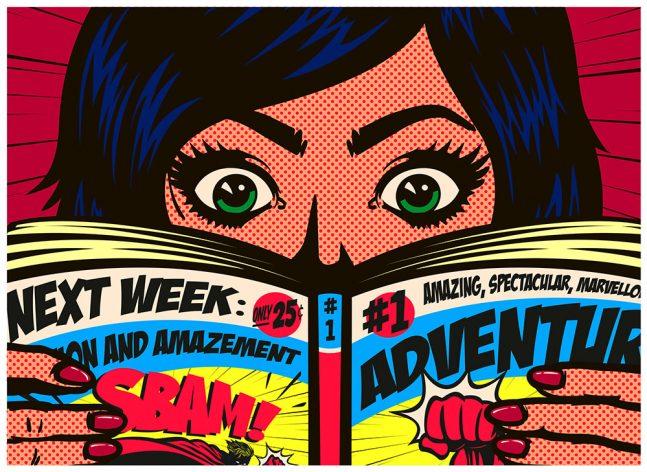 Comic Illustration of Woman Reading Comic Book