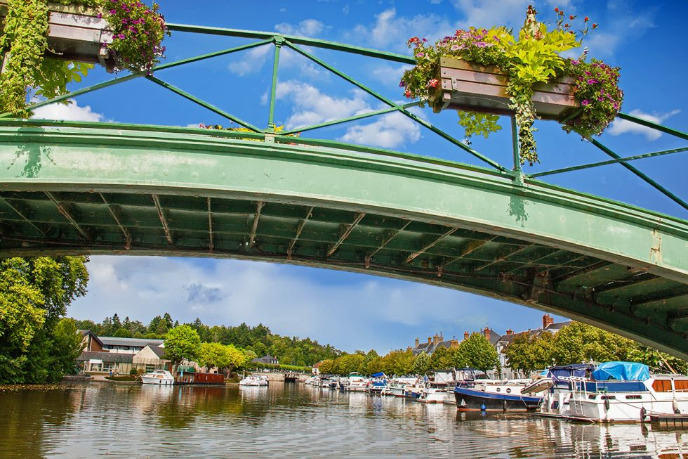 Bridge at the entrance to the marina in France
