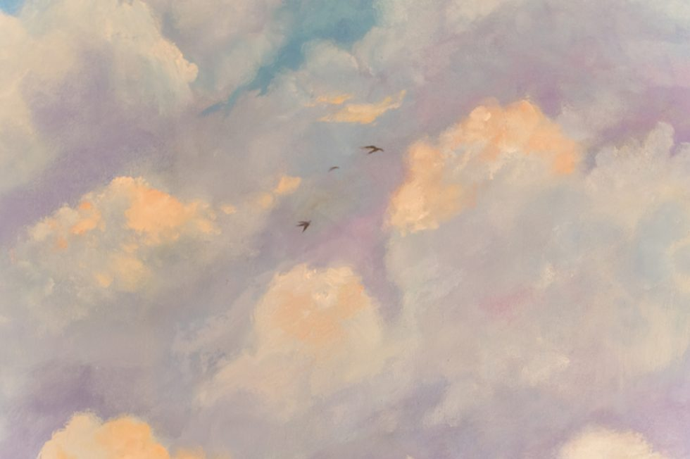 Painting of the sky with cloud and birds
