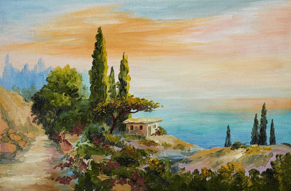 Beach House Oil Painting