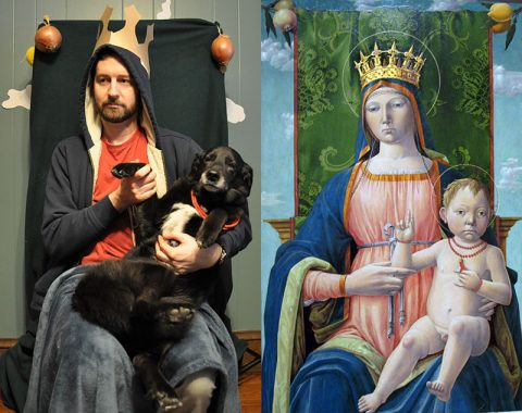 a person imitates a painting of the Madonna and baby Jesus
