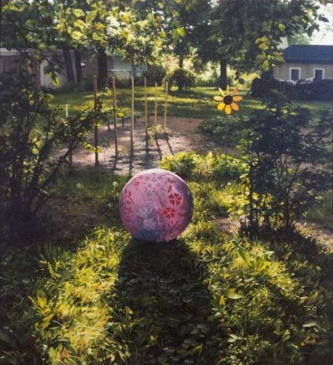 Painting of colorful pink flowered ball among garden greens
