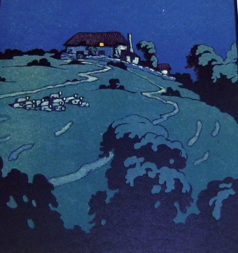 Woodblock print by John Hall Thorpe in shades of blue, black and highlighted with white of a house on a hill