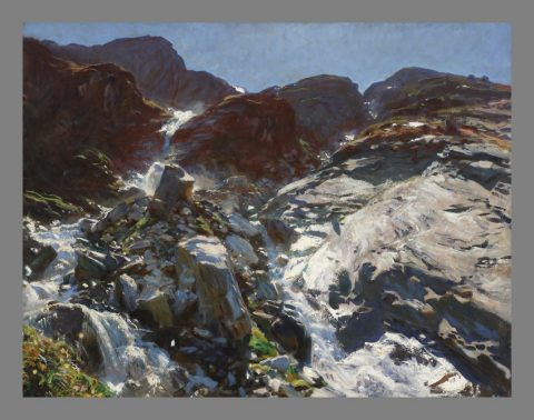 Painting of a gentle stream running through rocks