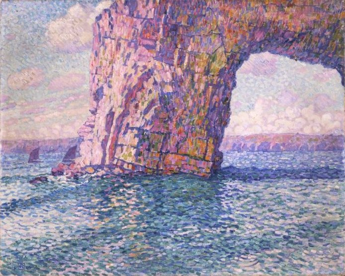 Pointillist Painting Of A Natural Arch In The Ocean By Theo Van Rysselberghe