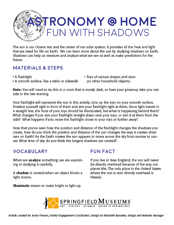 Astronomy at Home: Fun with Shadows