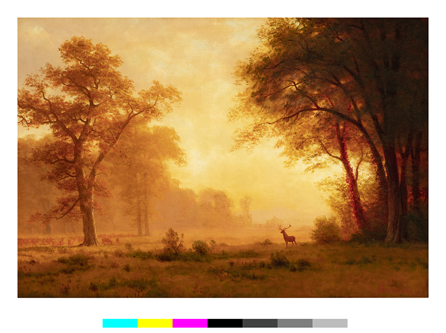 Landscape With Deer All In Tones Of Gold And Brown