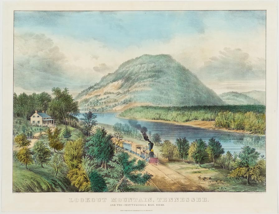 Print Of Mountain Next To River With Train Steaming By