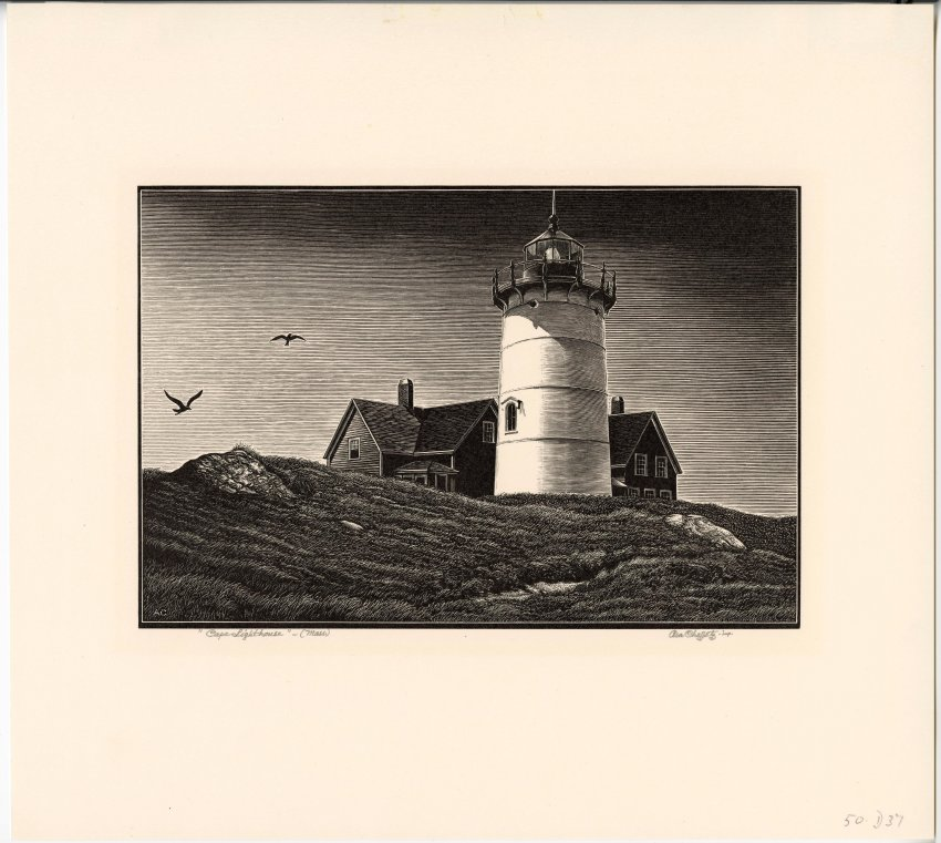 Black And White Illustration Of Lighthouse On Rocks