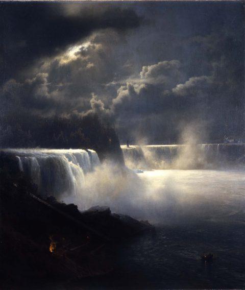 Dark painting of Niagara Falls with moonlight highlighting the rushing water