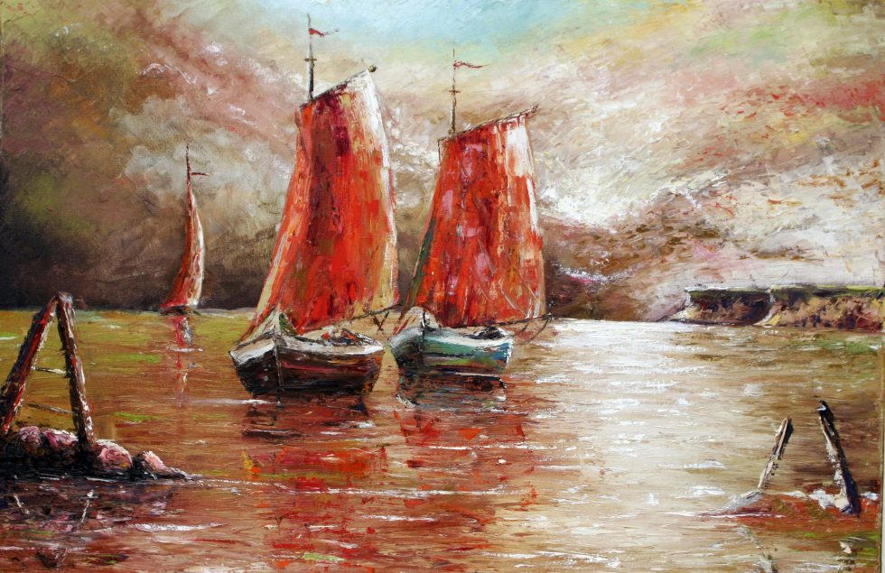 Painting of two boats with sails