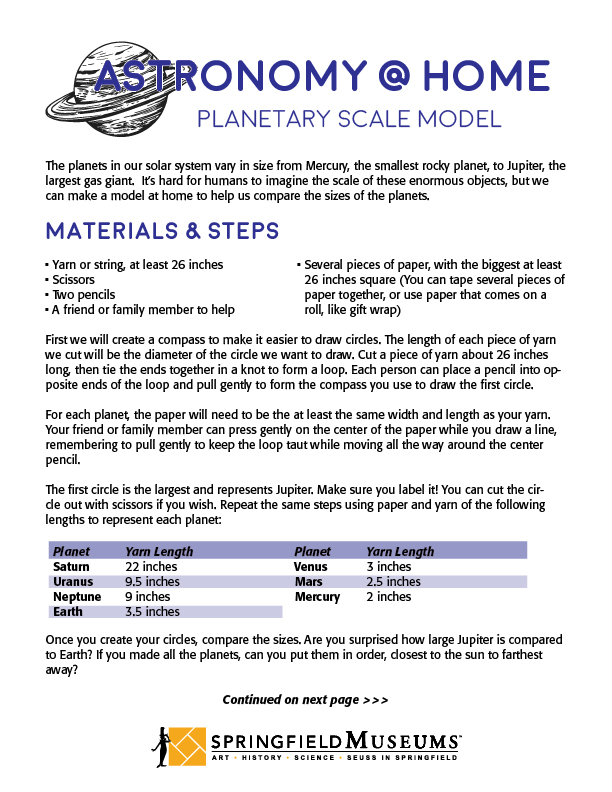 Astronomy at Home: Planetary Scale Model