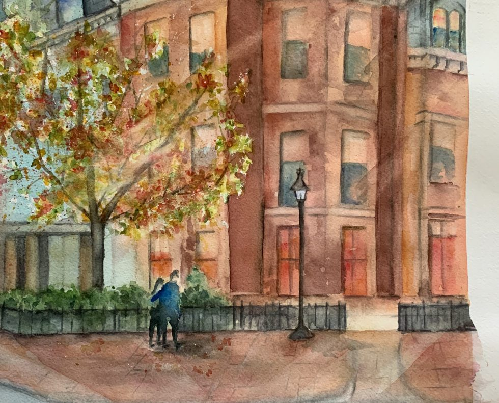 Watercolor painting of a brownstone