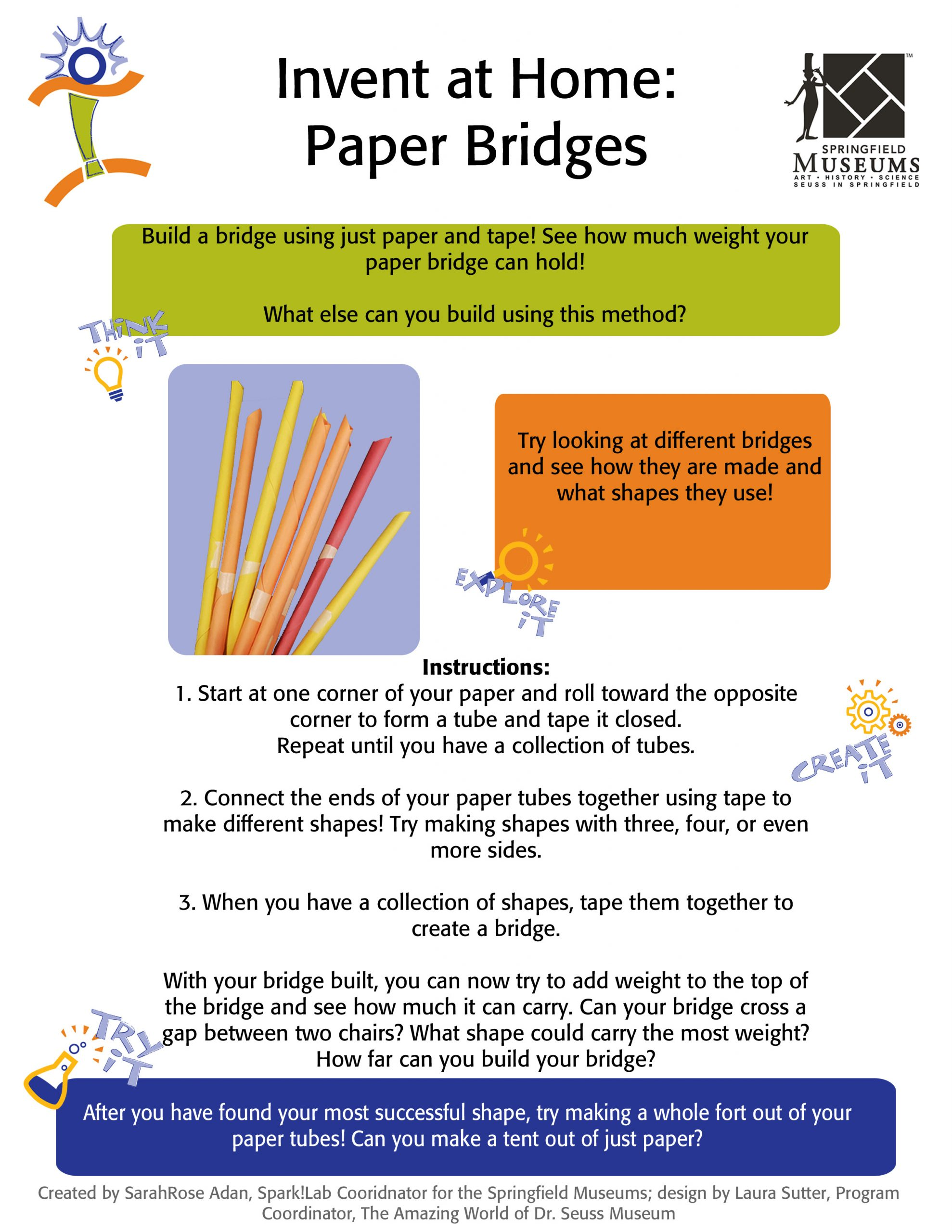 Invent at Home: Paper Bridges Activity Instructions
