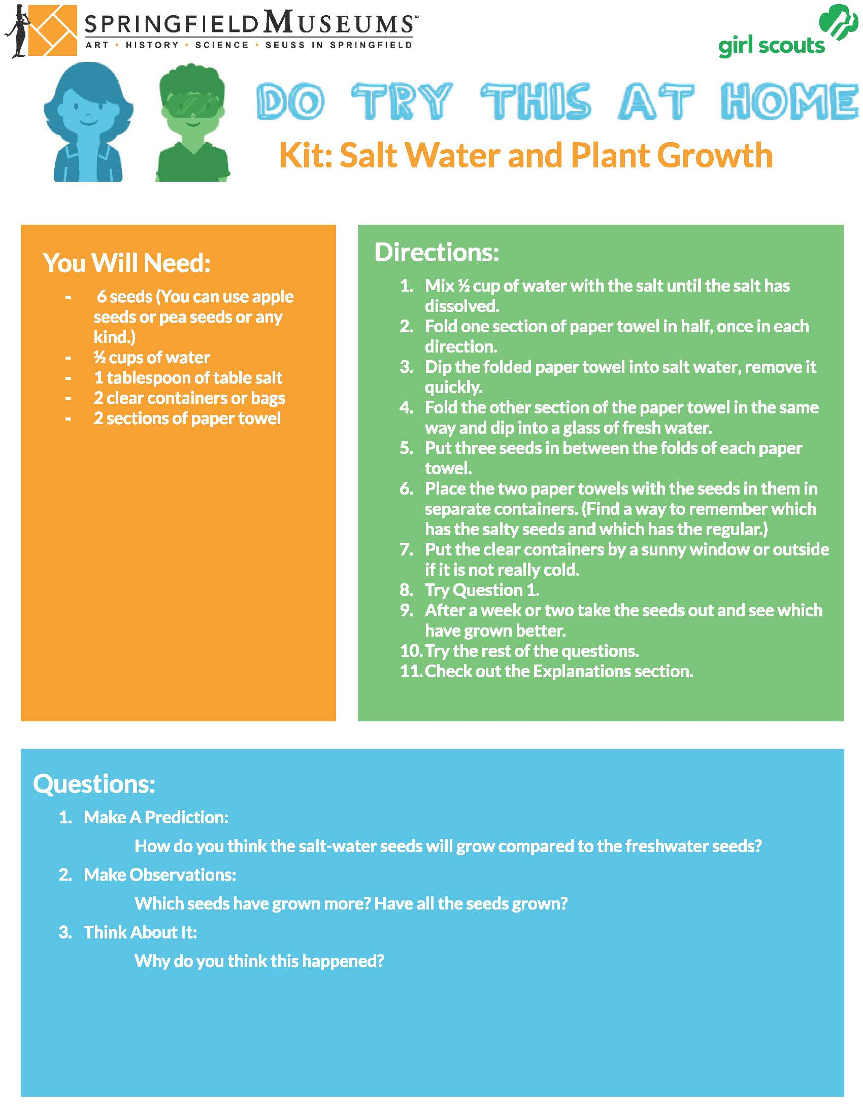 Do Try This at Home Kit: Salt Water and Plant Growth