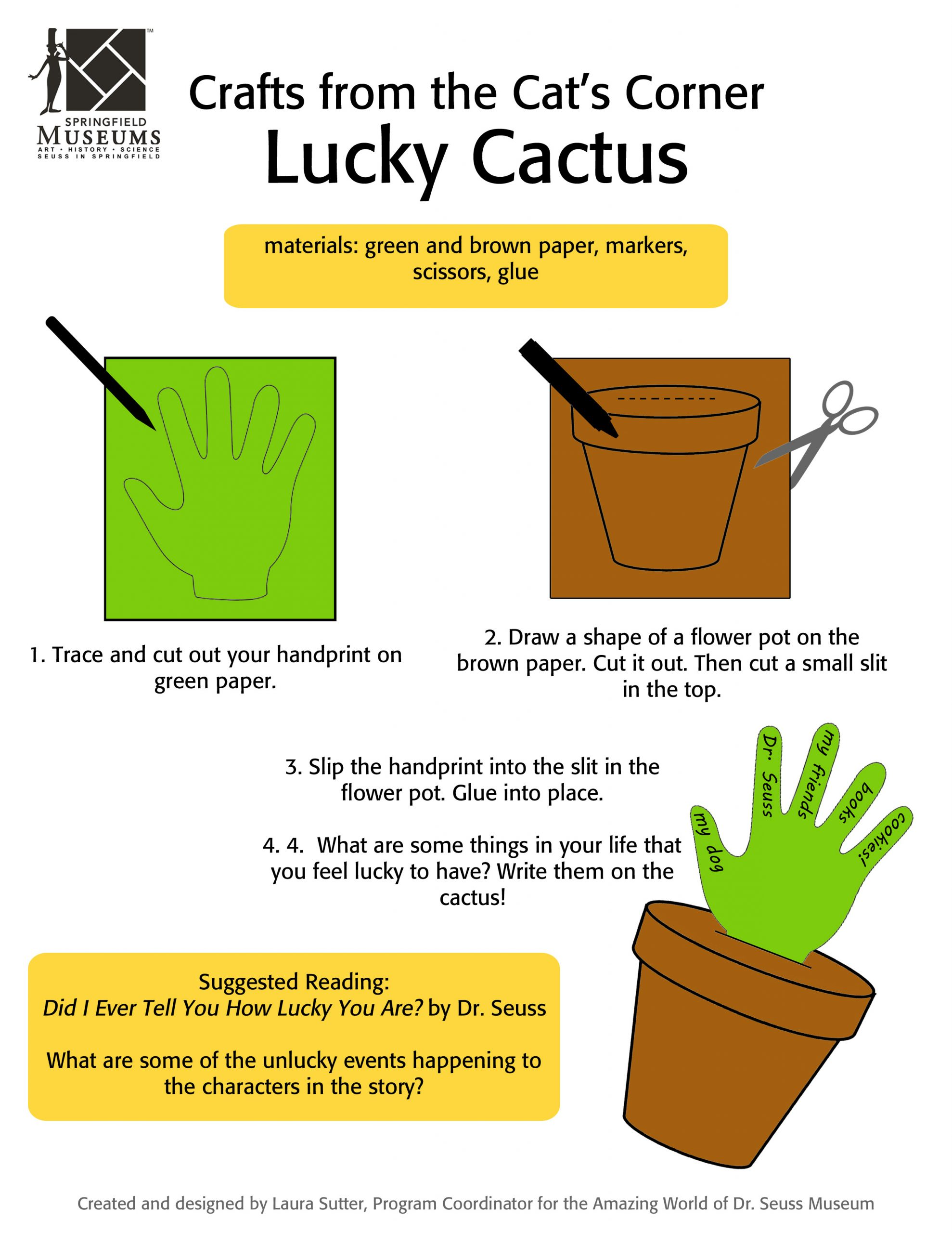 Crafts from the Cat's Corner: Lucky Cactus Activity Instructions