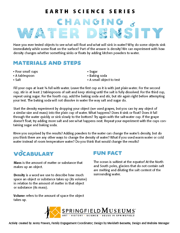 Earth Science Series: Changing Water Density Activity Instructions