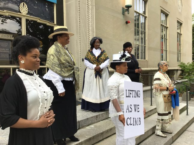 Six women depict historical figures of color in the struggle for the right for women to vote