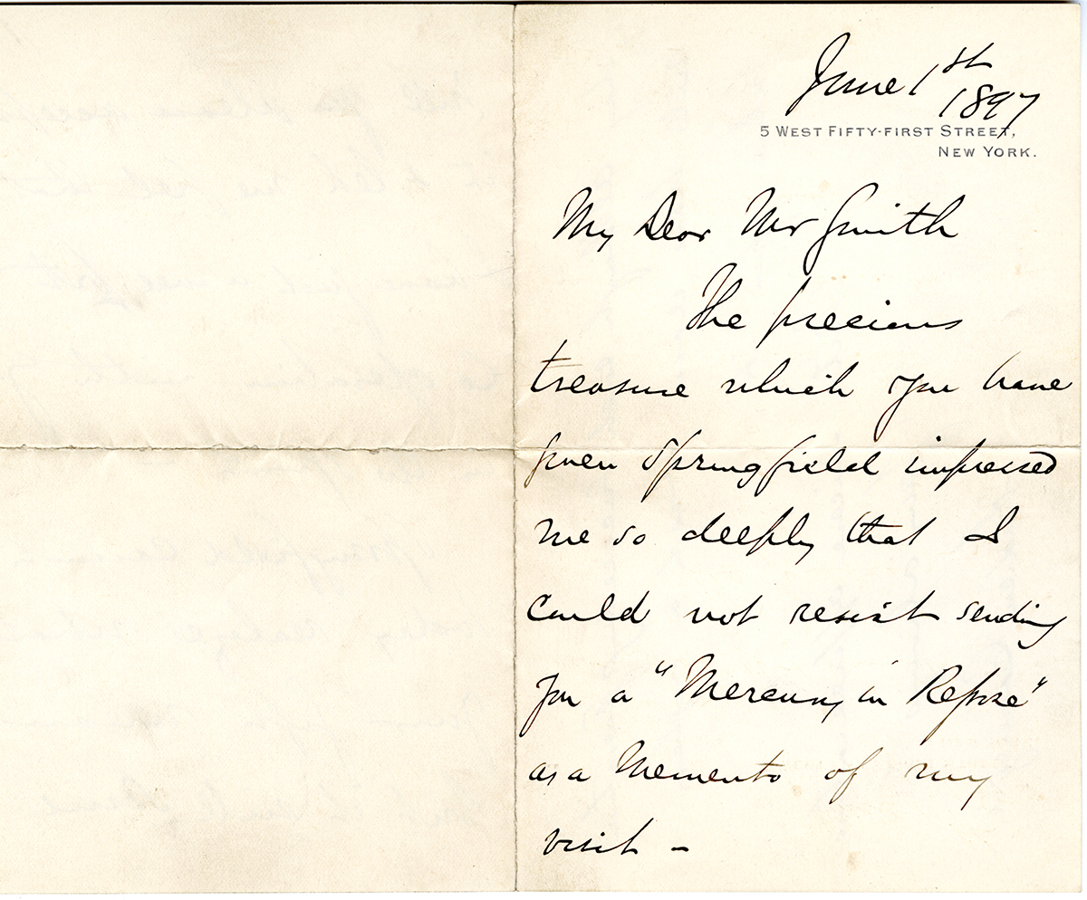 Letter To George Walter Vincent Smith From Andrew Carnegie, New York, June 1, 1897