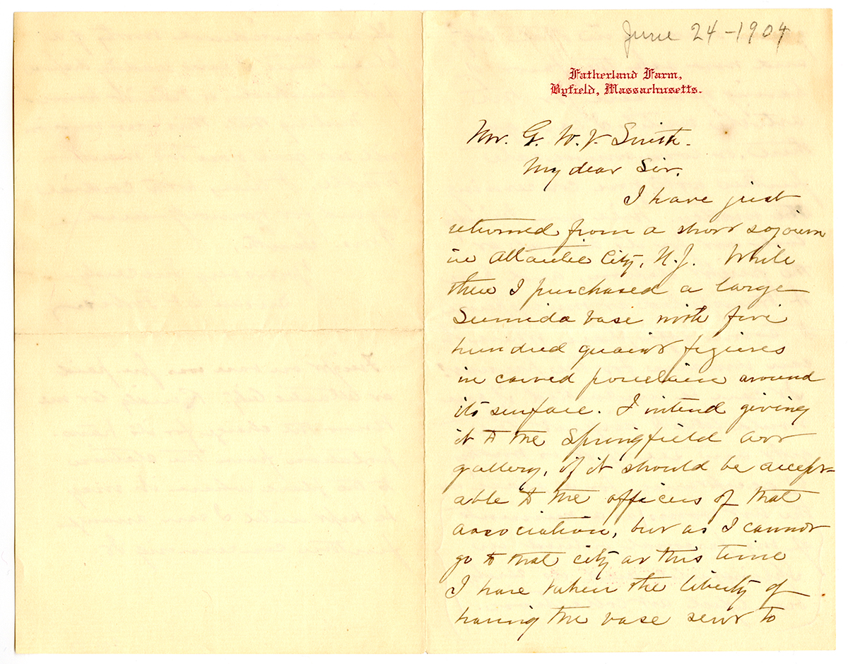 Letter To George Walter Vincent Smith From Susan E. P. Forbes, Byfield, Massachusetts, June 24, 1904