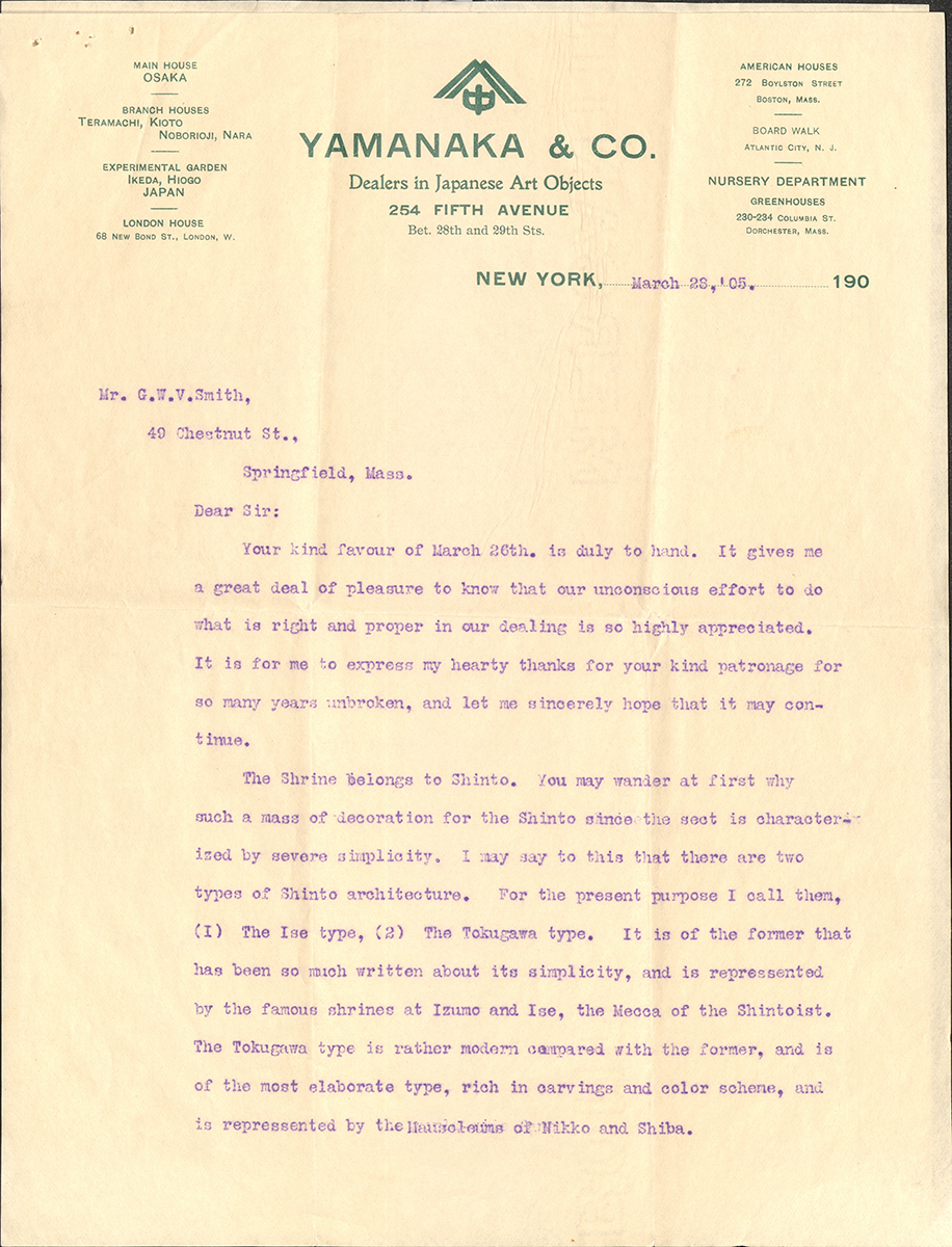 Letter To George Walter Vincent Smith From D.J.R. Ushikubo Of Yamanaka And Co., New York, March 29, 1905