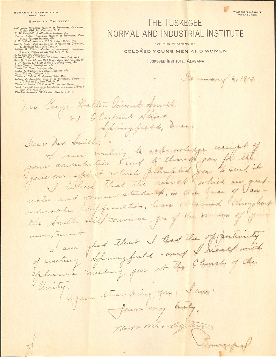 Letter To George Walter Vincent Smith From Booker T. Washington, Tuskegee Institute, Alabama, February 6, 1912