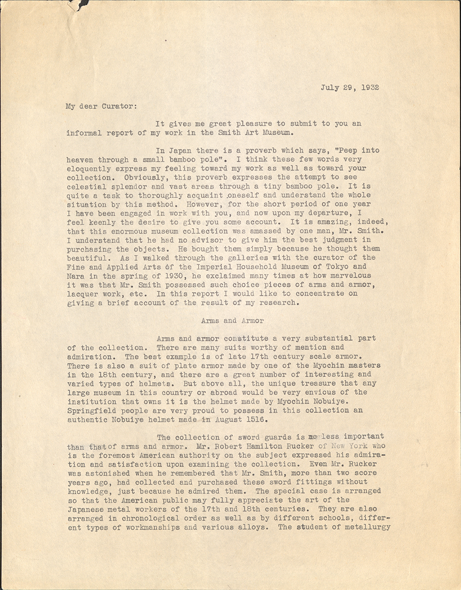 Report To The Curator From Dr. Asa Matsuoka, July 29, 1932