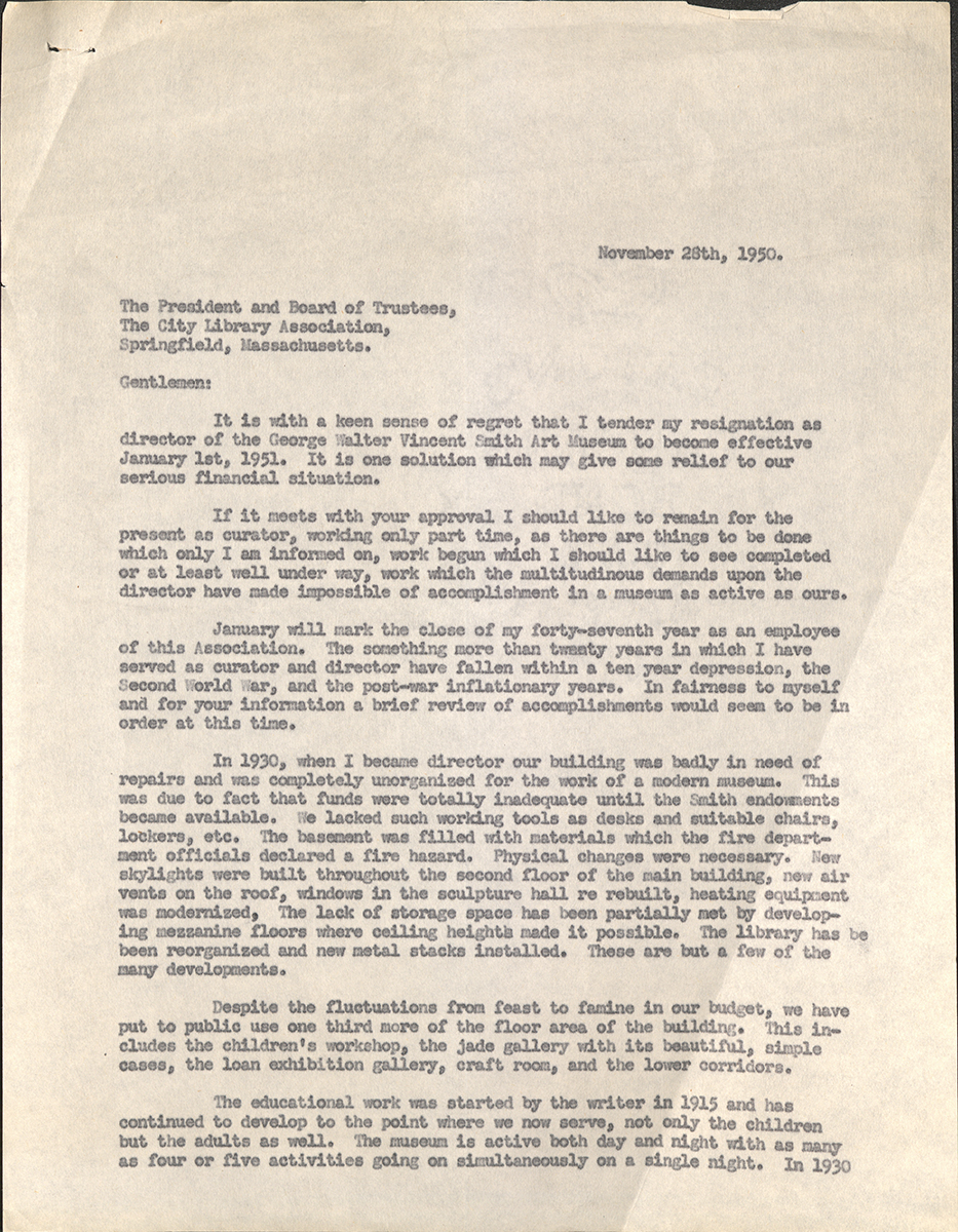 Letter To The President And Board Of Trustees, Springfield City Library Association, From Cordelia S. Pond, Springfield, November 28, 1950