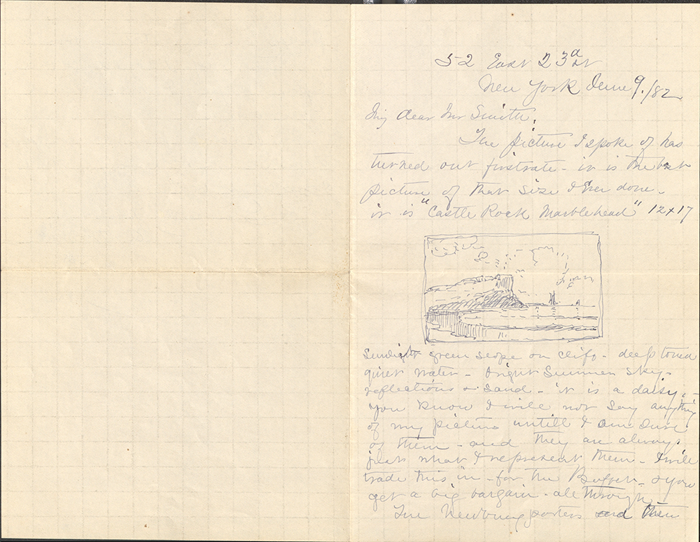Letter To George Walter Vincent Smith From Alfred Thompson Bricher, New York, June 9, 1882