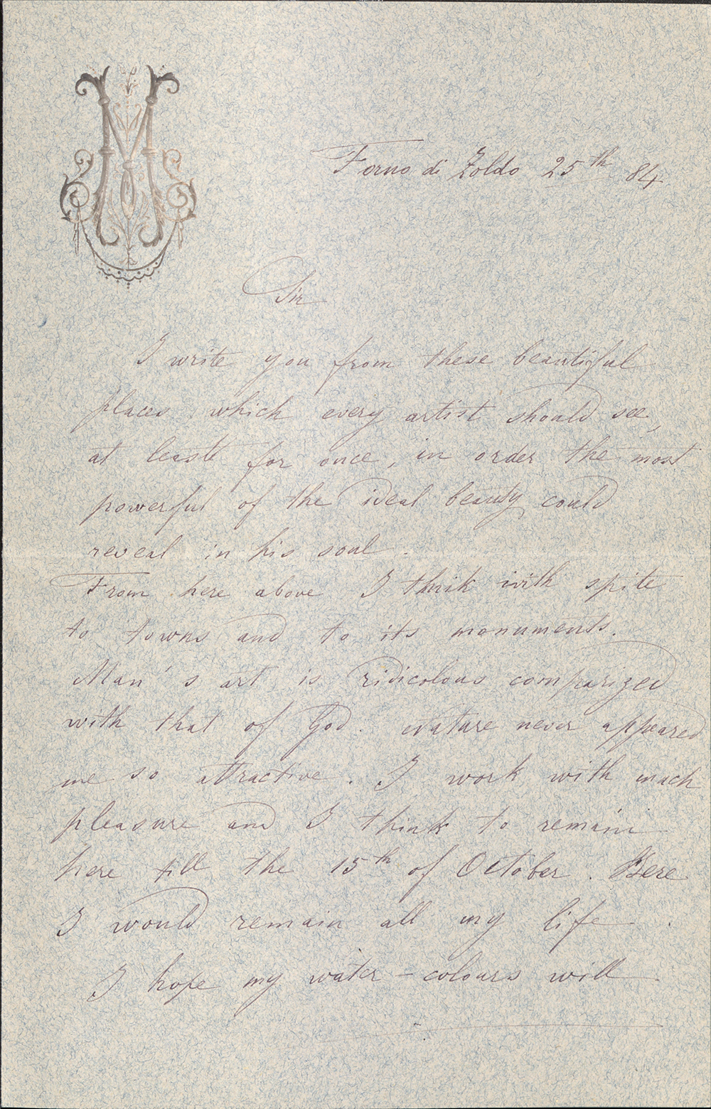 Letter To George Walter Vincent Smith From Raffaele Mainella, Forno Di Zoldo, September 25, 1884