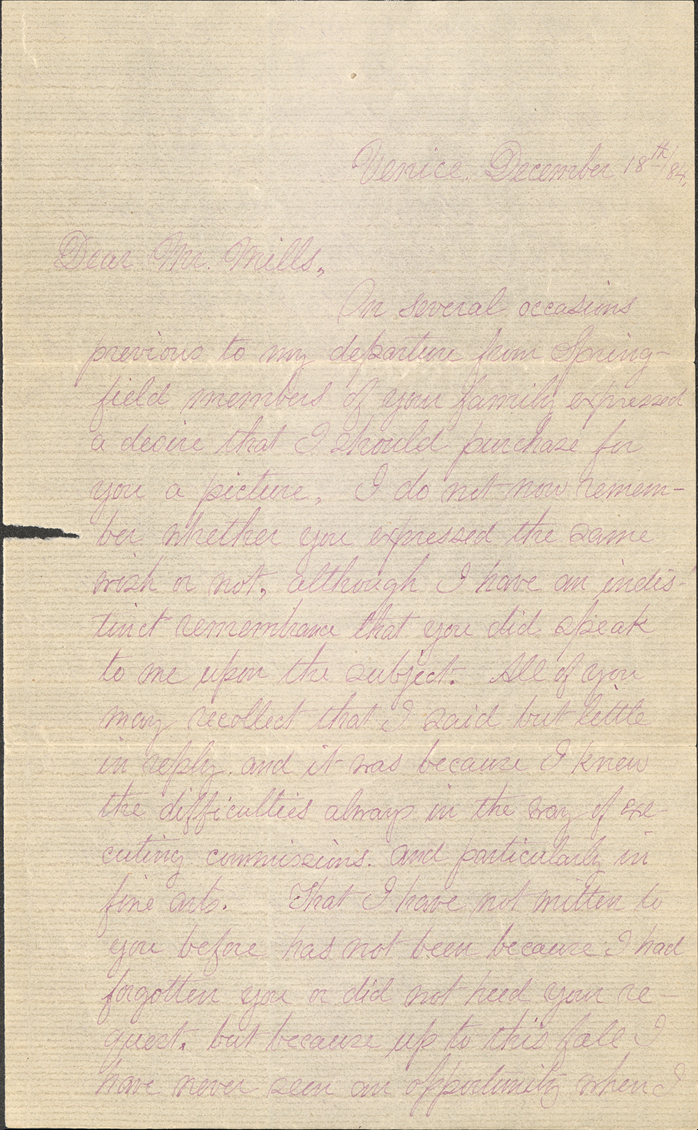 Letter To Mr. Mills From George Walter Vincent Smith, Venice, December 18, 1884