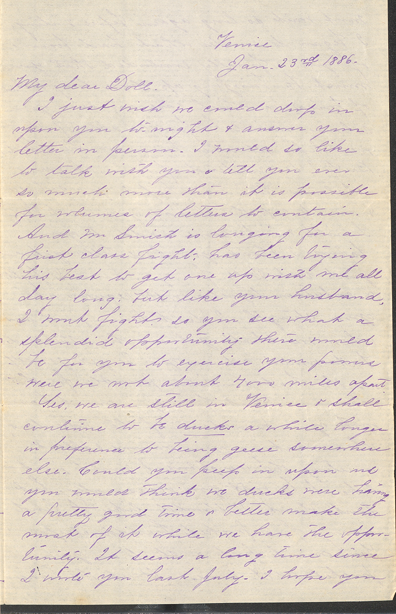 "Letter To ""Doll"" Or Mrs. C. C. Buswell From Belle Townsley Smith, Venice, January 23, 1886"