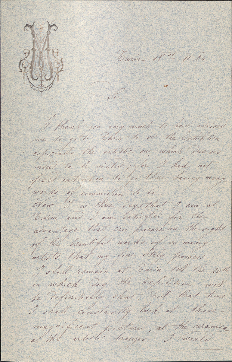 Letter To George Walter Vincent Smith From Raffaele Mainella, Turin, November 18, 1886