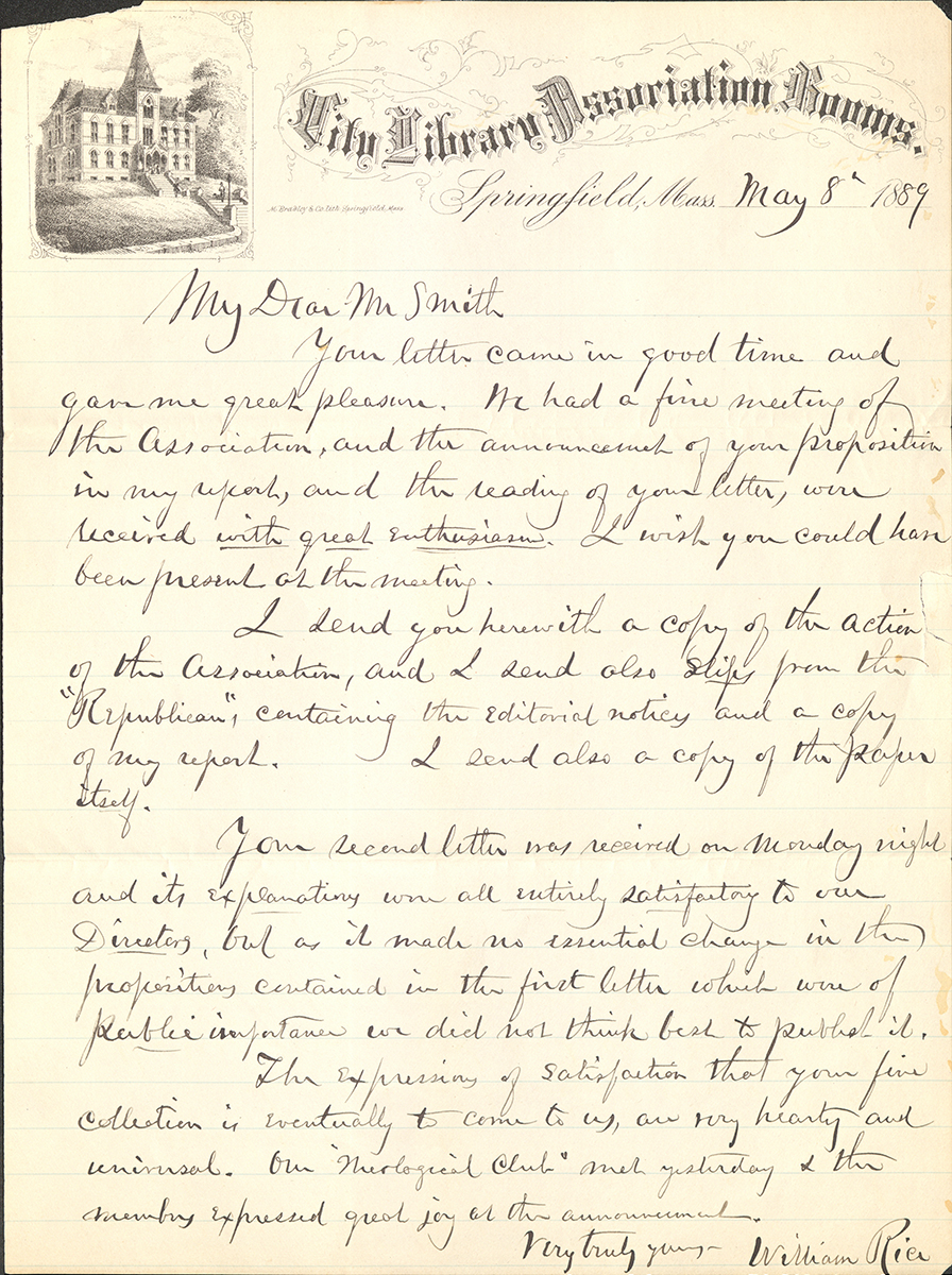 Letter To George Walter Vincent Smith From William Rice, Springfield, May 8, 1889