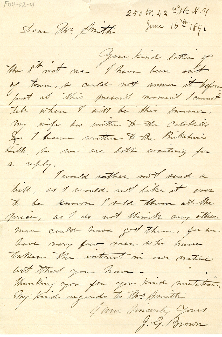 Letter To George Walter Vincent Smith From J.G. Brown, New York, June 16, 1891