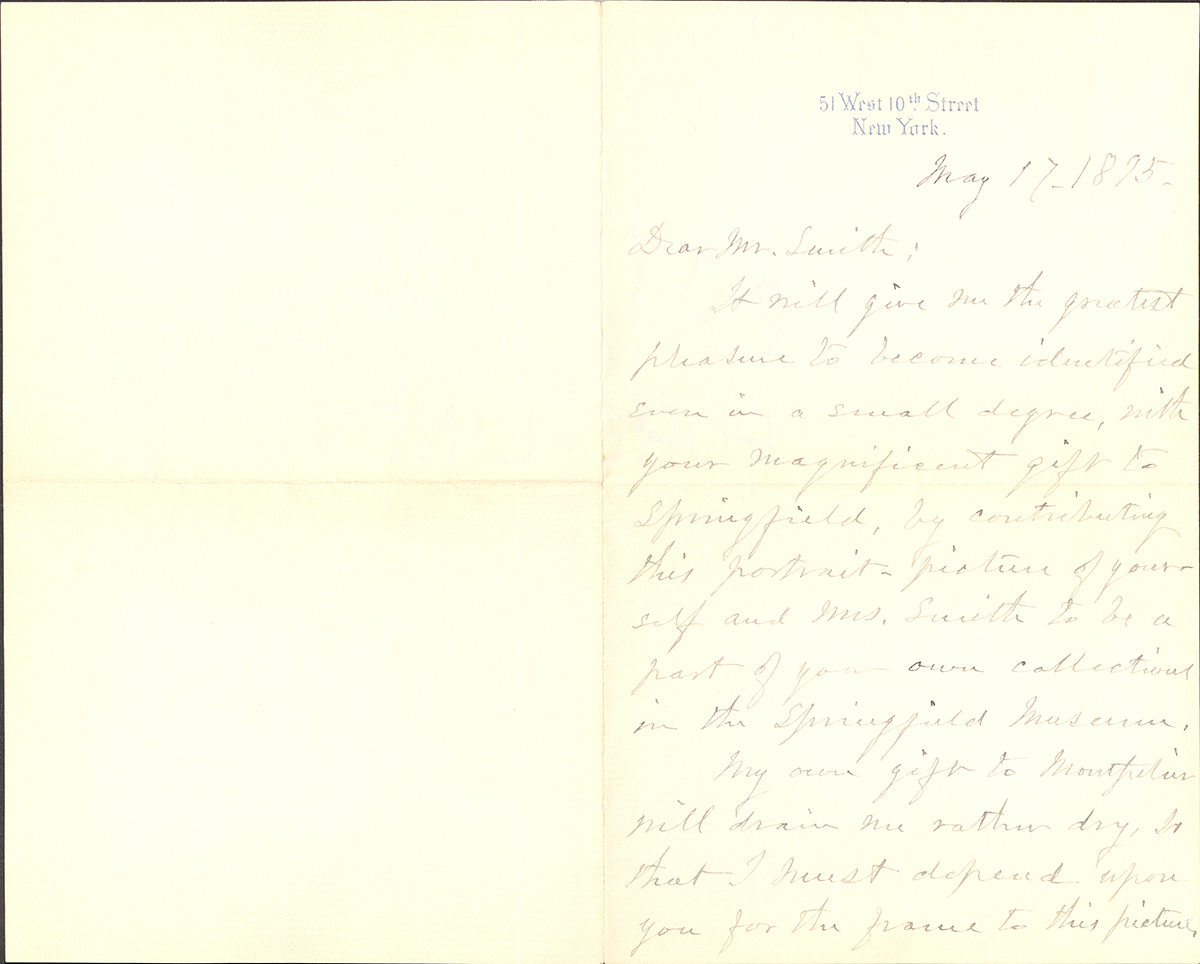 Letter To George Walter Vincent Smith From Thomas Waterman Wood, New York, May 17 1895