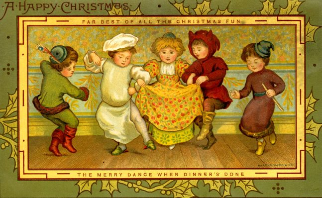Old Christmas card with watercolor painting of people in old fashion costumes and holly leaf decorations