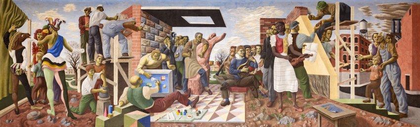 Mural, 1947, casein on plaster by Sante Graziani